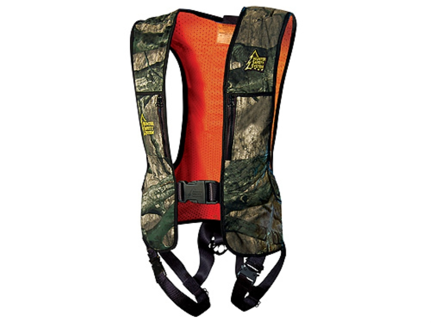 "Hunter Safety System Reversible HSS-100 Treestand Safety Harness Vest Mossy Oak Treestand Camo and Blaze Orange Large/XL 42-56"" Chest"