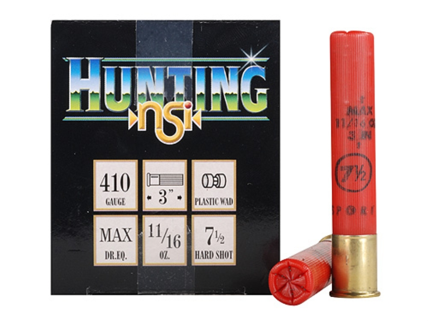 "NobelSport Hunting Ammunition 410 Bore 3"" 11/16 oz #7-1/2 Shot Box of 25"