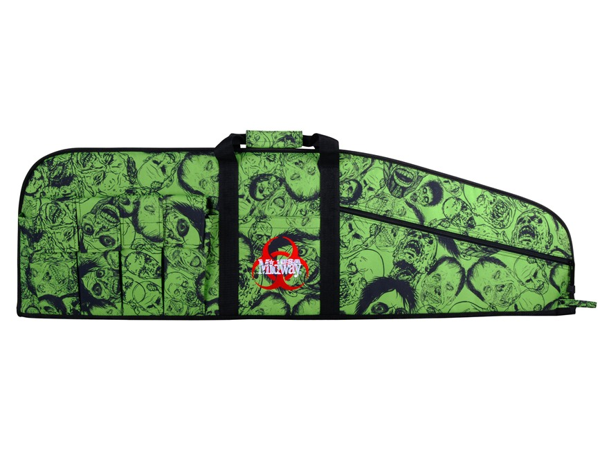 "MidwayUSA Zombie Tactical Rifle Gun Case 42"" with 6 Pockets PVC Coated Polyester Black and Green"