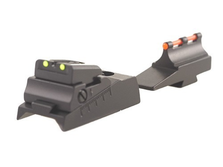 Williams Fire Sight Set Thompson Center with Octagon Barrel Aluminum Black Fiber Optic Green