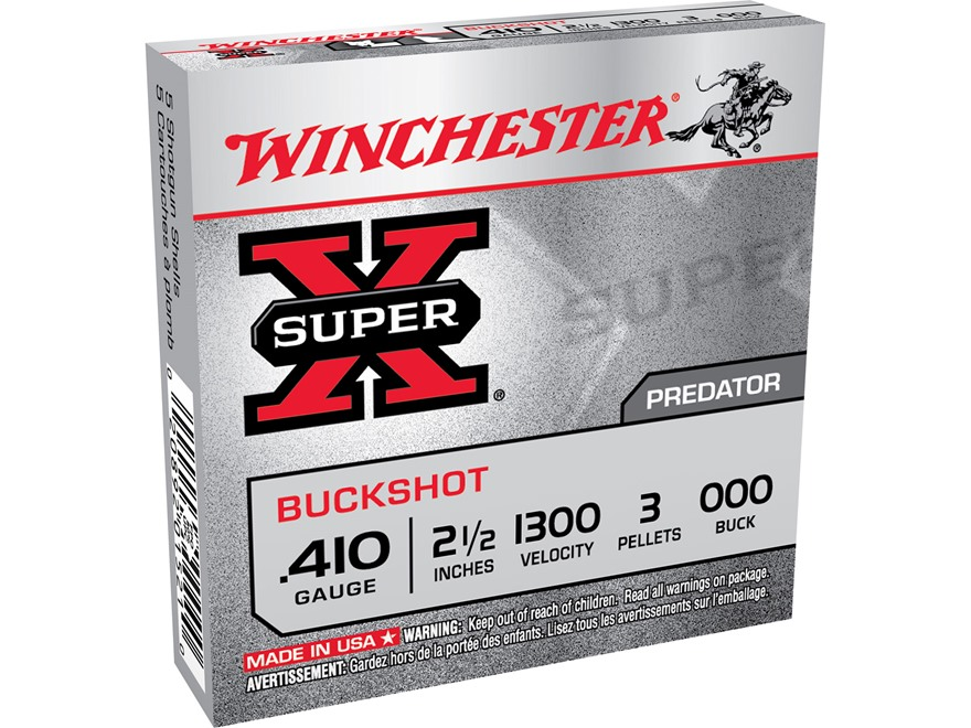 "Winchester Super-X Ammunition 410 Bore 2-1/2"" 000 Buckshot 3 Pellets Box of 5"