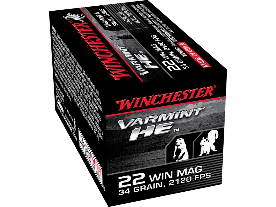 Winchester Ammunition 22 Winchester Magnum Rimfire (WMR) 34 Grain Jacketed Hollow Point Box of 50