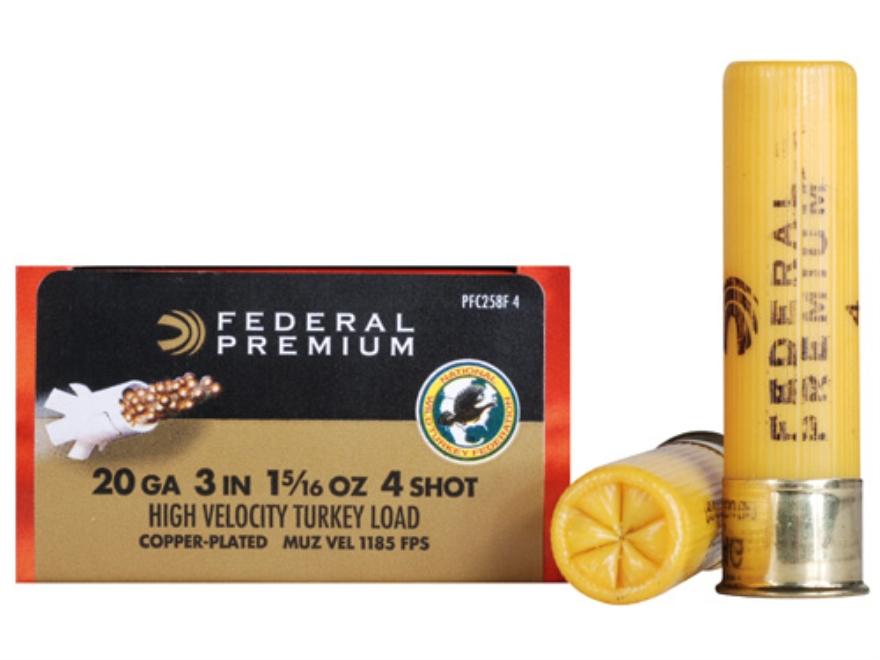 "Federal Premium Mag-Shok Turkey Ammunition 20 Gauge 3"" 1-5/16 oz #4 Copper Plated Shot High Velocity Box of 10"