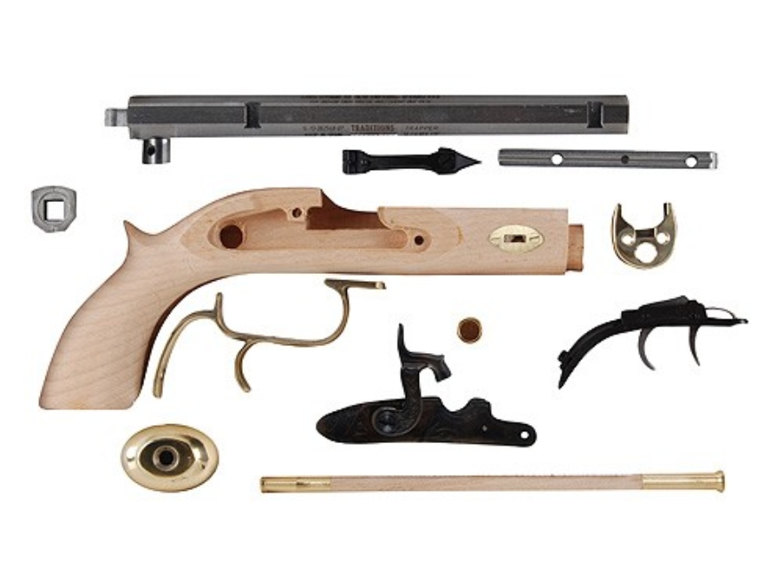 "Traditions Trapper Black Powder Pistol Unassembled Kit 50 Caliber Percussion 1 in 20"" Twist 9-3/4"" Barrel in the White"