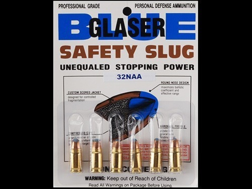 Glaser Blue Safety Slug Ammunition 32 North American Arms (NAA) 55 Grain Safety Slug Package of 6