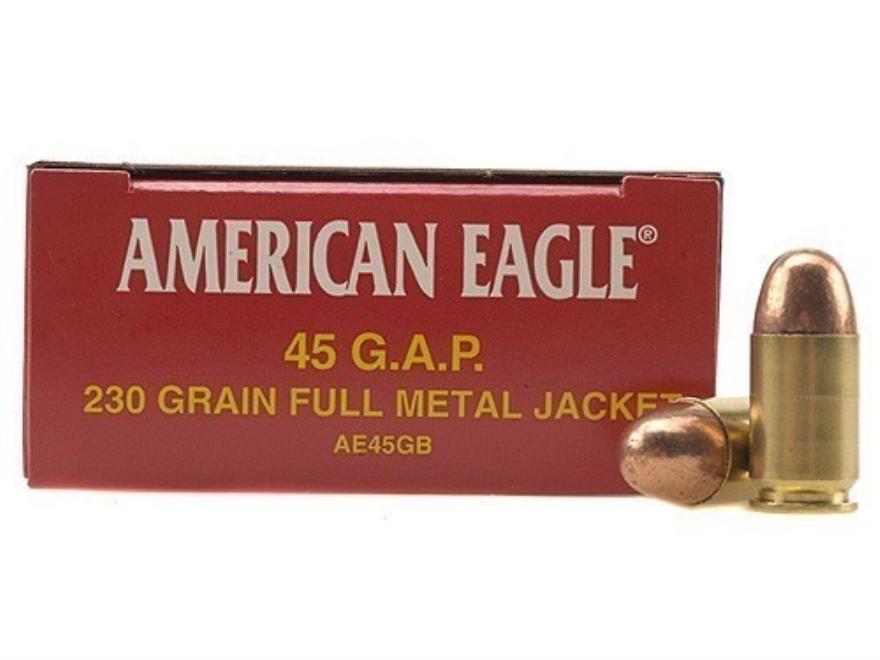 Federal American Eagle Ammunition 45 GAP 230 Grain Total Metal Jacket Box of 50