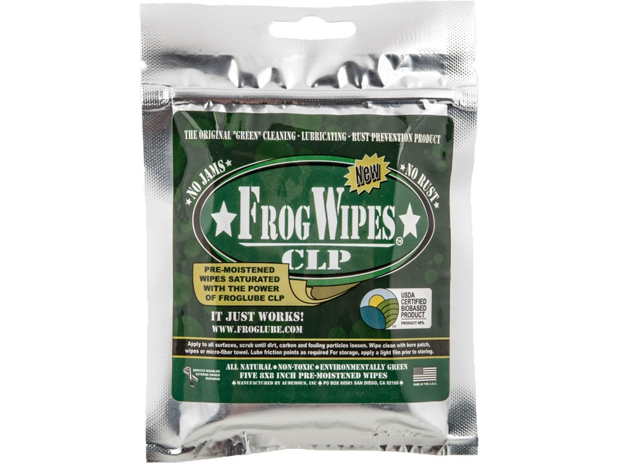 FrogLube CLP Bio-Based Cleaner, Lubricant, and Preservative Treated Wipes Pack of 5