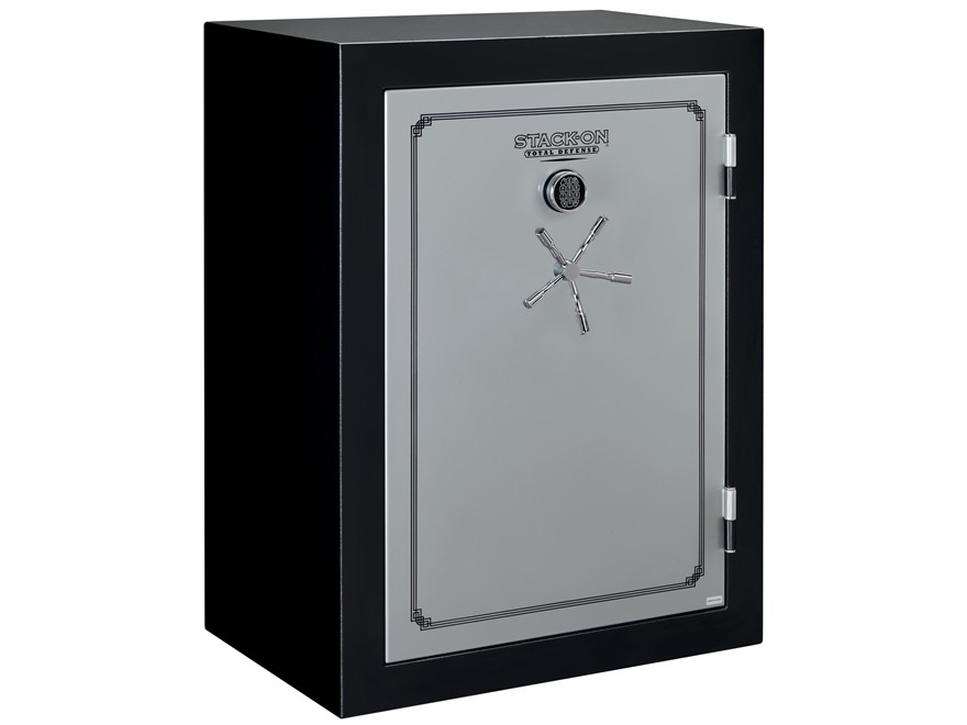 Stack-On Total Defense Fire-Resistant 54-Gun Safe Matte Black and Silver with Door Storage
