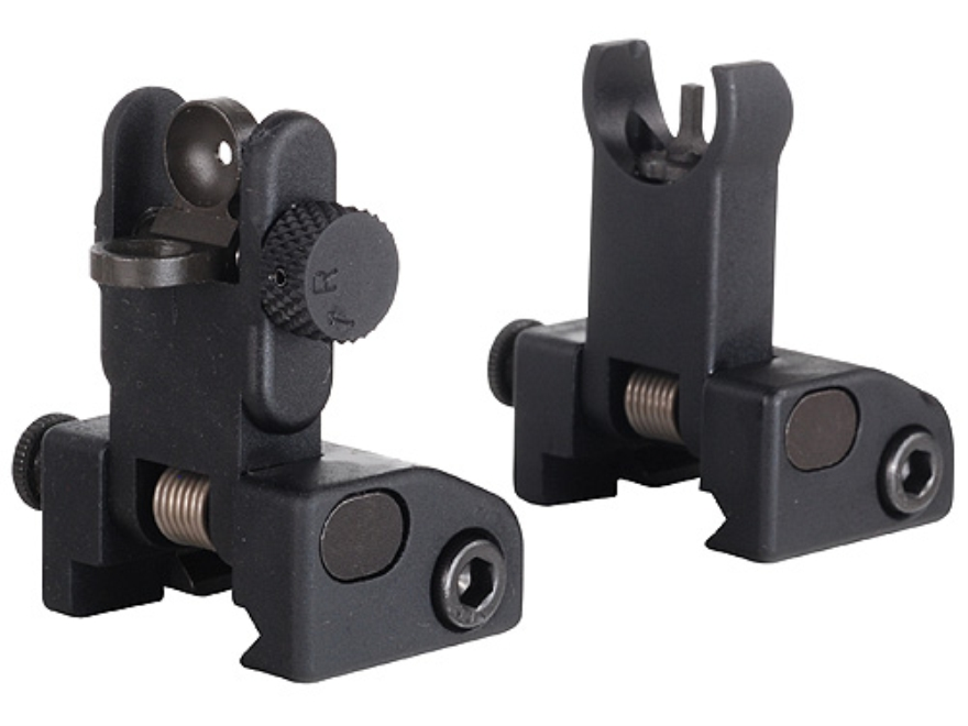 Yankee Hill Machine QDS Quick Deploy Flip up Front and Rear Sight Set Hooded AR-15 Flat-Top Aluminum Matte