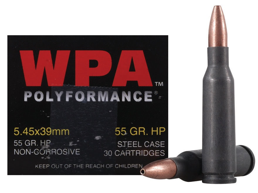 Wolf Ammunition 5.45x39mm Russian 55 Grain Jacketed Hollow Point (Bi-Metal) Steel Case Berdan Primed Box of 30