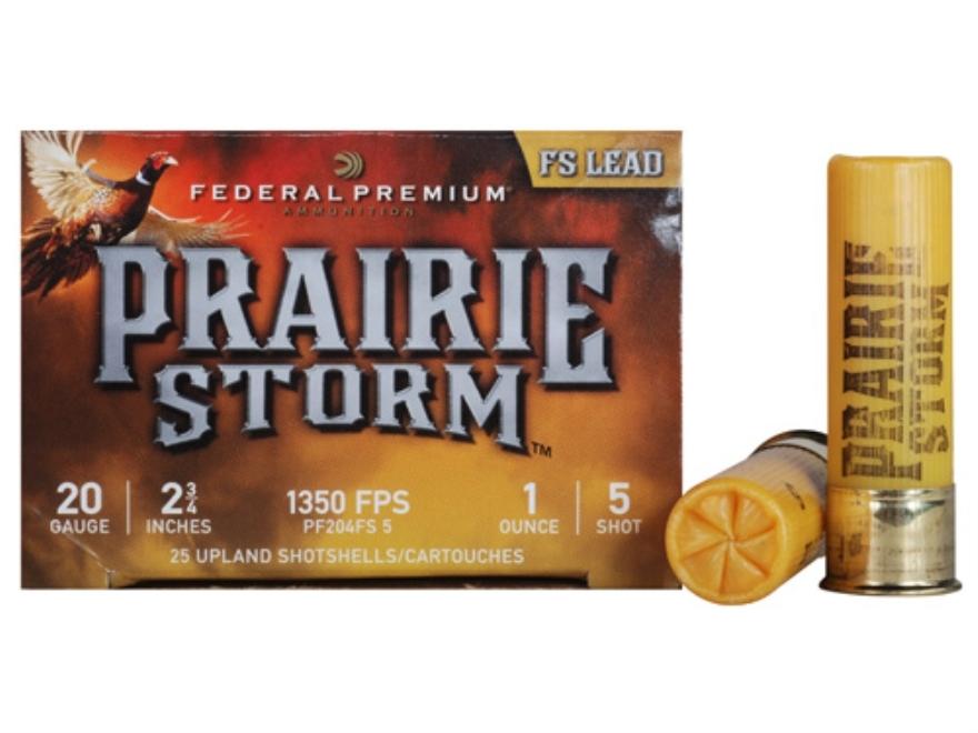 "Federal Premium Prairie Storm Ammunition 20 Gauge 2-3/4"" 1 oz #5 Plated Shot Box of 25"