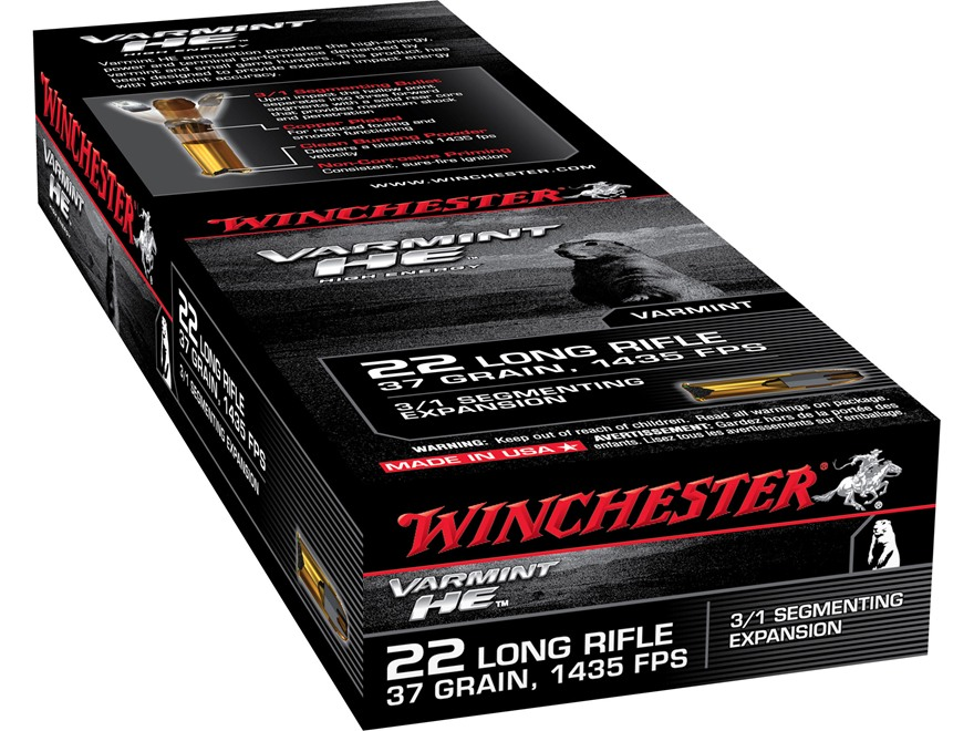 Winchester Varmint High Energy Ammunition 22 Long Rifle 37 Grain Fragmenting Hollow Point Box of 250 (5 Boxes of 50)