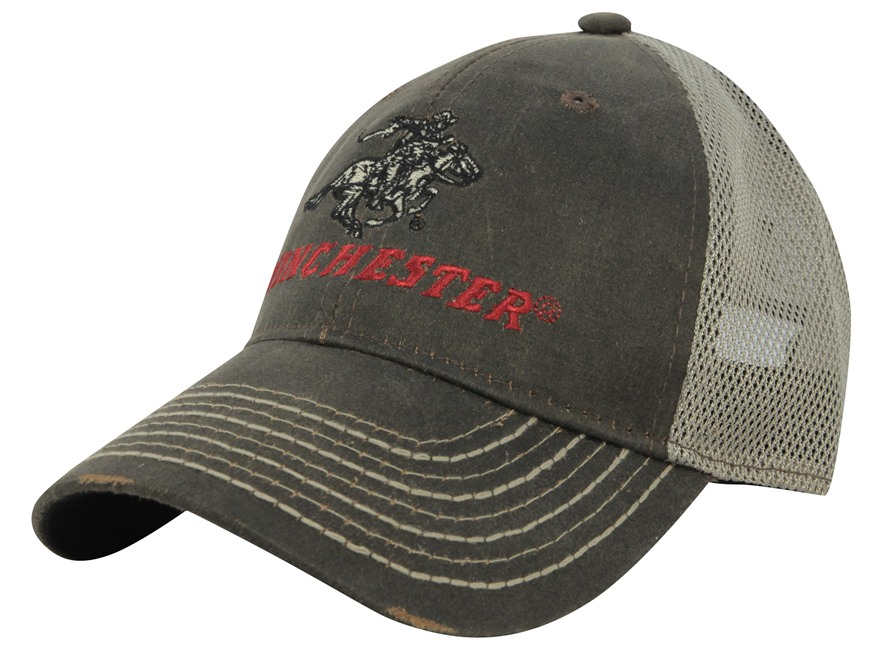 Winchester Weathered Mesh Logo Cap Cotton and Polyester Brown