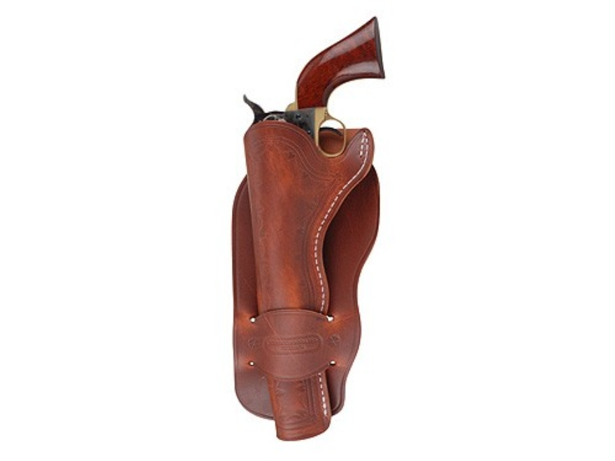 """Oklahoma Leather Mexican Single Loop Holster Left Hand Single Action 4.75"""" Barrel Leather Brown"""