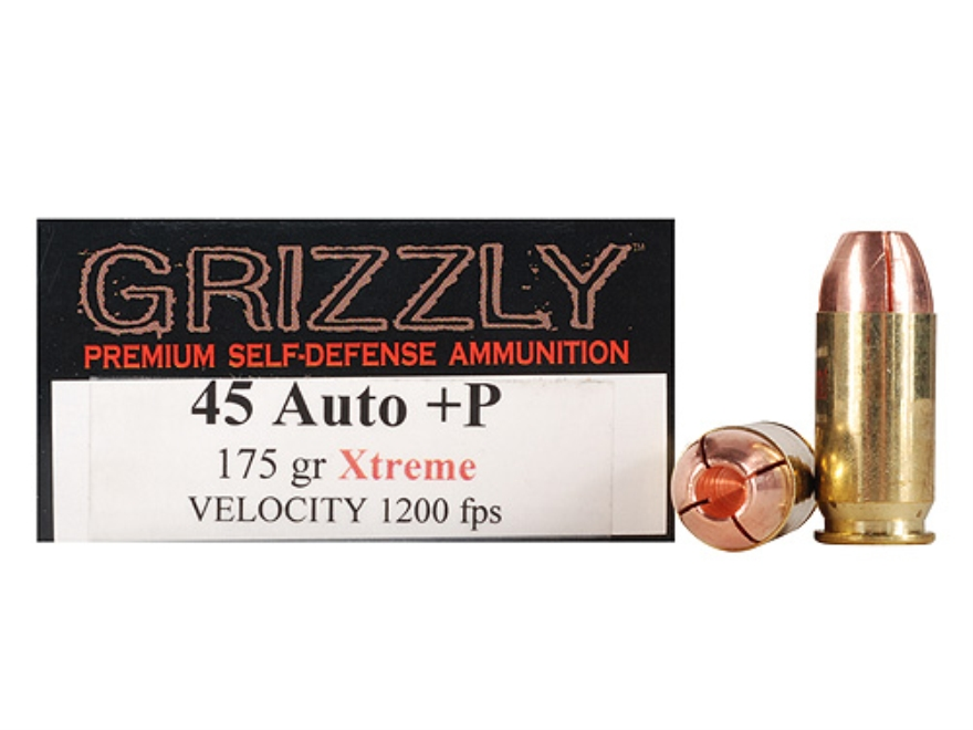 Grizzly Self-Defense Ammunition 45 ACP +P 175 Grain Xtreme Copper Hollow Point Lead-Free Box of 20