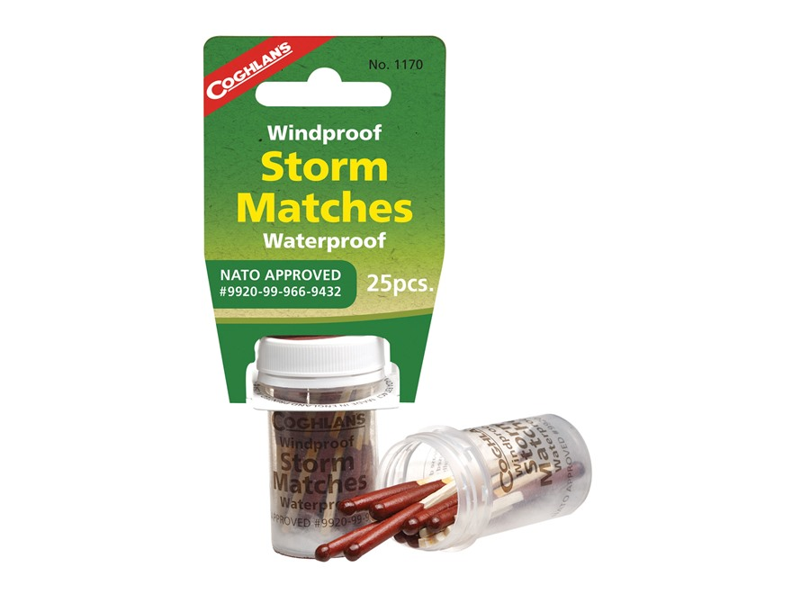 Coghlans Windproof & Waterproof Storm Matches Tube of 25