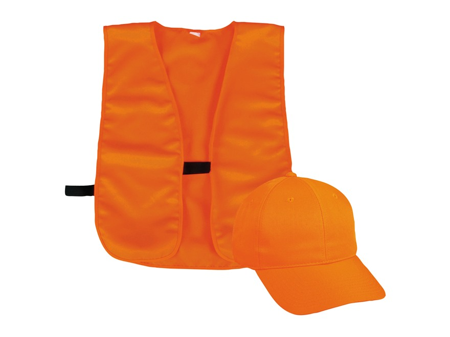 Outdoor Cap Safety Vest and Cap Combo Polyester Blaze Orange