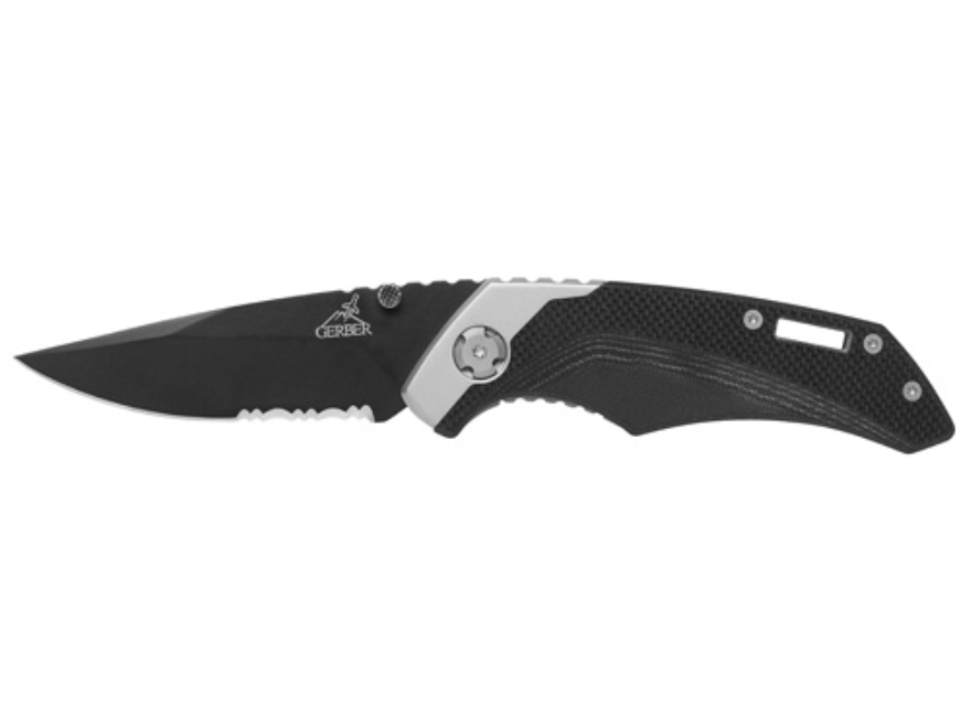 "Gerber Contrast Tactical Folding Knife 3"" Drop Point 7Cr17MoV Titanium Nitride Coated Stainless Steel Blade G-10 Handle Black"