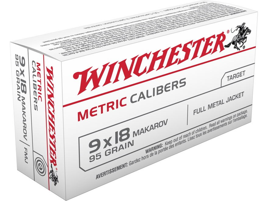 Winchester USA Ammunition 9x18mm (9mm Makarov) 95 Grain Full Metal Jacket Box of 50