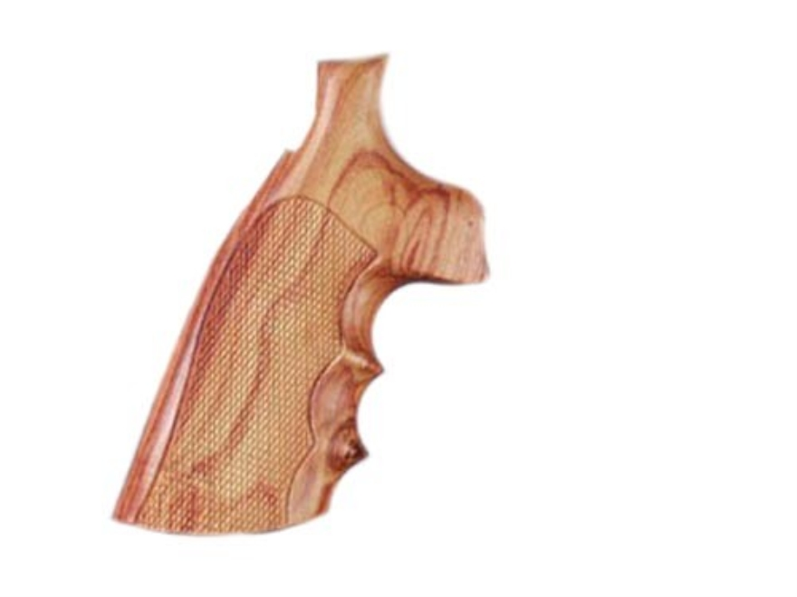 Hogue Fancy Hardwood Grips with Finger Grooves Taurus Medium and Large Frame Revolvers Round Butt Checkered