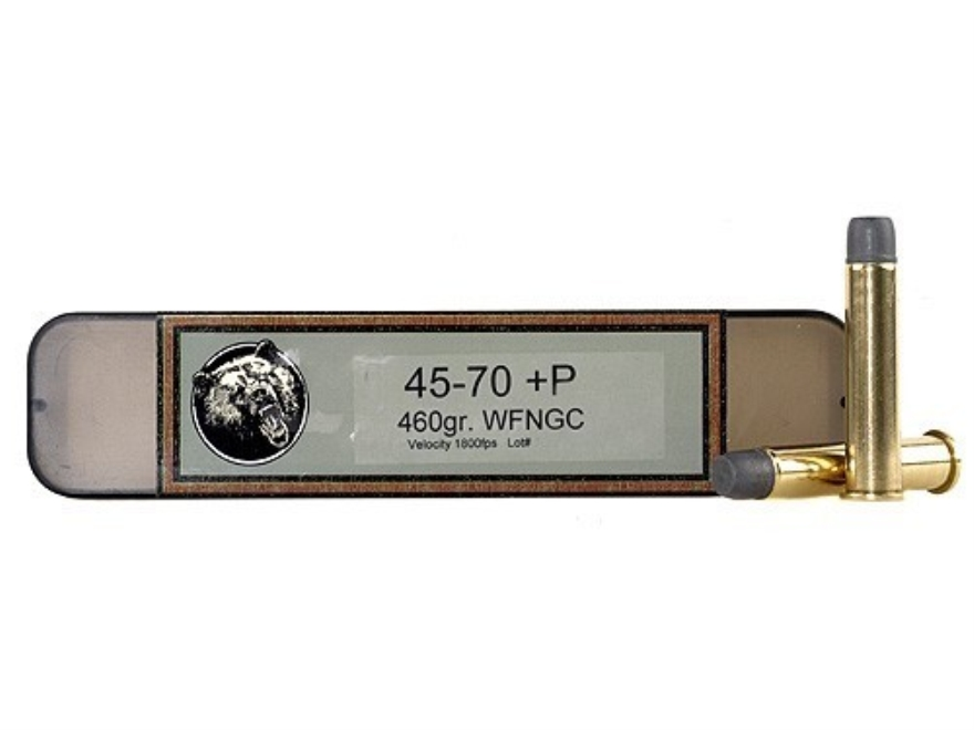 Grizzly Ammunition 45-70 Government +P 460 Grain Cast Performance Lead Wide Flat Nose Gas Check Box of 20