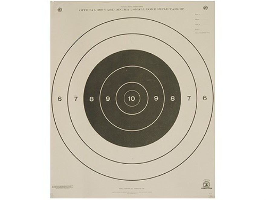NRA Official Smallbore Rifle Targets A-21 200 Yard Prone Paper Package of 100