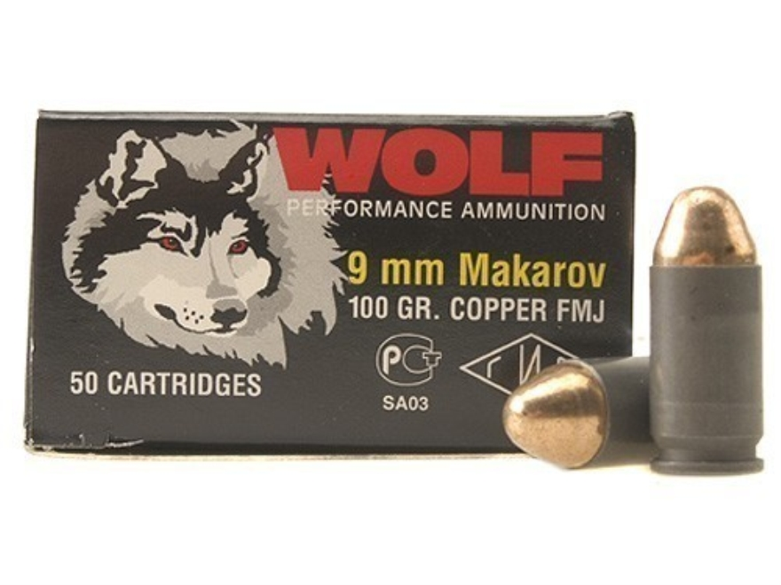 Wolf Ammunition 9x18mm (9mm Makarov) 95 Grain Full Metal Jacket Steel Case Berdan Primed Box of 50