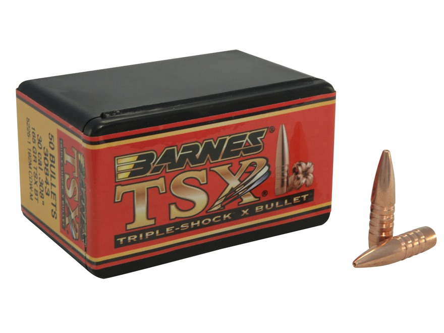 Barnes Triple-Shock X Bullets 30 Caliber (308 Diameter) 165 Grain Hollow Point Boat Tail Lead-Free Box of 50