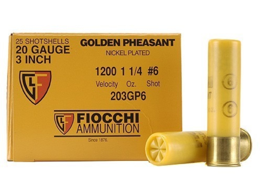 "Fiocchi Golden Pheasant Ammunition 20 Gauge 3"" 1-1/4 oz #6 Nickel Plated Shot Box of 25"