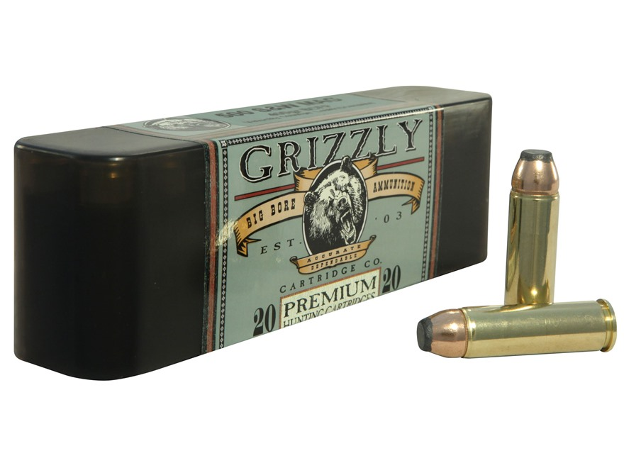 Grizzly Ammunition 500 S&W Magnum 400 Grain Hawk Bonded Core Jacketed Flat Point Box of 20