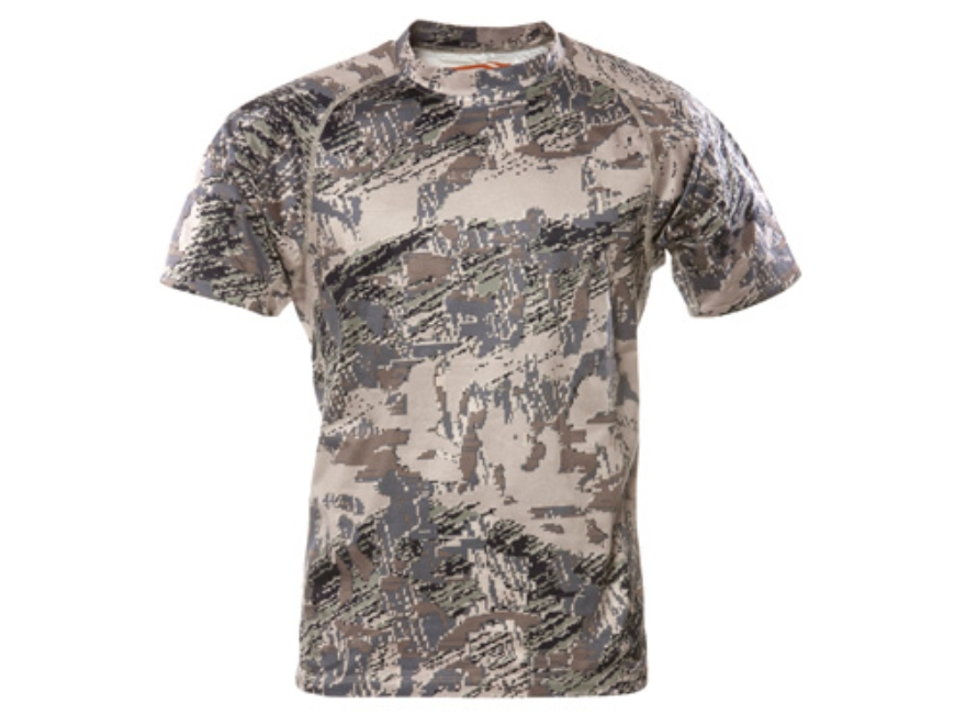 Sitka Gear Men's Core Crew Base Layer Shirt Short Sleeve Polyester Gore Optifade Open Country Camo Large 42-45