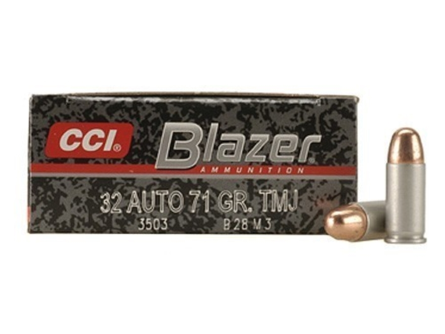 CCI Blazer Ammunition 32 ACP 71 Grain Total Metal Jacket Box of 50