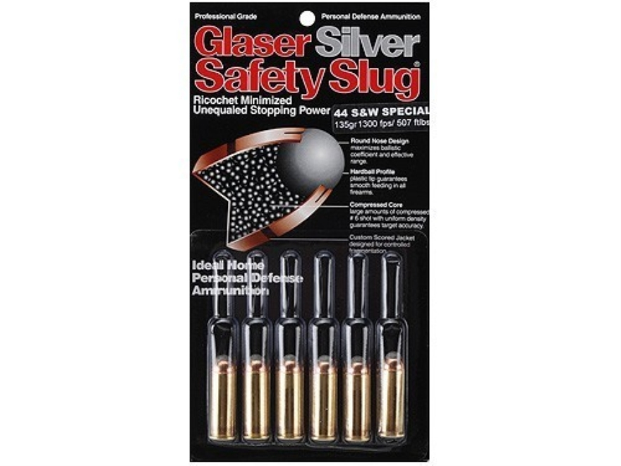 Glaser Silver Safety Slug Ammunition 44 Special 135 Grain Safety Slug Package of 6