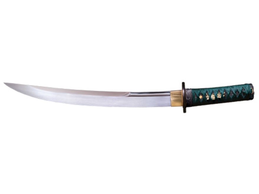 "Cold Steel Dragonfly O Tanto 15"" 1055 Carbon Steel Blade Ray Skin and Silk Cord Handle Green"