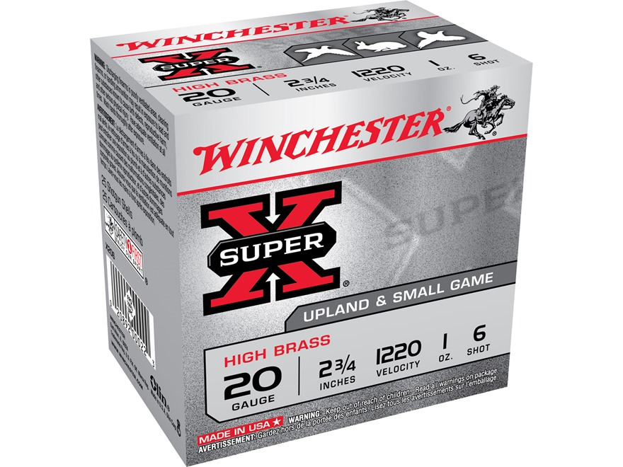"Winchester Super-X High Brass Ammunition 20 Gauge 2-3/4"" 1 oz #6 Shot"