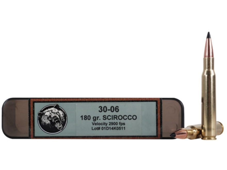 Grizzly Ammunition 30-06 Springfield 180 Grain Swift Scirocco Polymer Tip Boat Tail Box...
