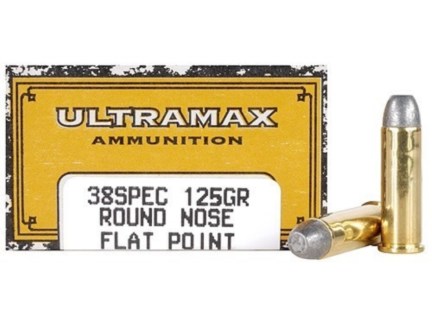 Ultramax Cowboy Action Ammunition 38 Special 125 Grain Lead Round Nose Flat Point Box of 50