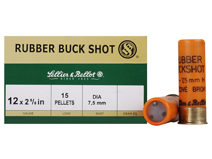 "Sellier & Bellot Ammunition 12 Gauge 2-5/8"" 7.5mm Rubber Buckshot 15 Pellets Box of 25"