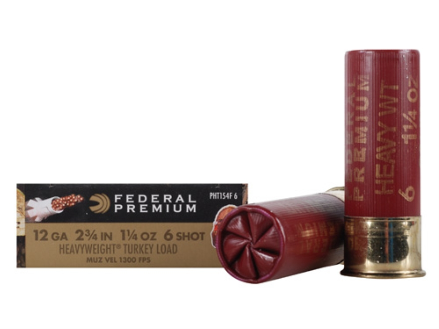 "Federal Premium Mag-Shok Low Recoil Turkey Ammunition 12 Gauge 2-3/4"" 1-1/4 oz #6 Heavyweight Non-Toxic Shot Flitecontrol Wad Box of 5"