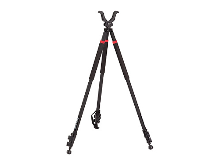 "Bog-Pod TAC-3 (Tactical Devil) Tall Tripod Shooting Sticks 31"" to 68"" Swivel Head All-Terrain Feet Black and Red"