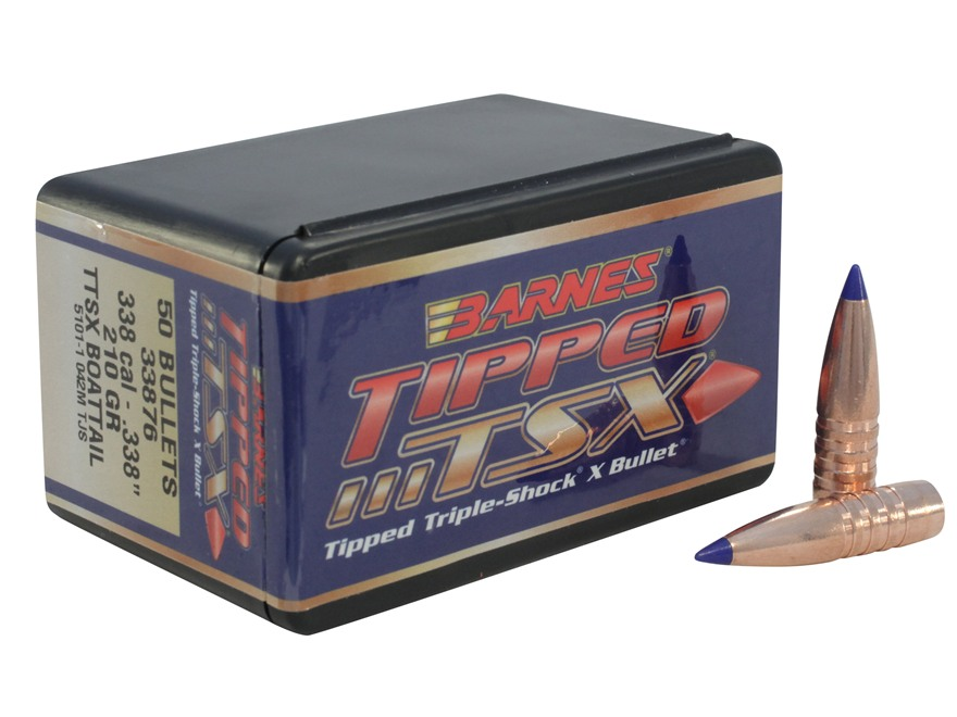 Barnes Tipped Triple-Shock X Bullets 338 Caliber (338 Diameter) 210 Grain Spitzer Boat Tail Lead-Free Box of 50