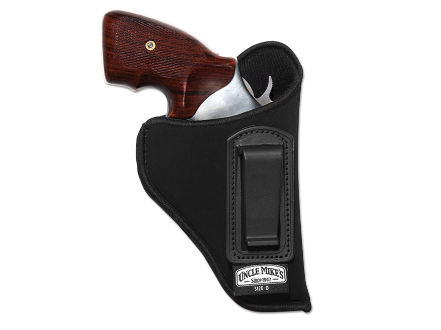 "Uncle Mike's Open Style Inside the Waistband Holster Small Frame 5-Round Revolver with Hammer 2"" Barrel Ultra-Thin 4-Layer Laminate Black"