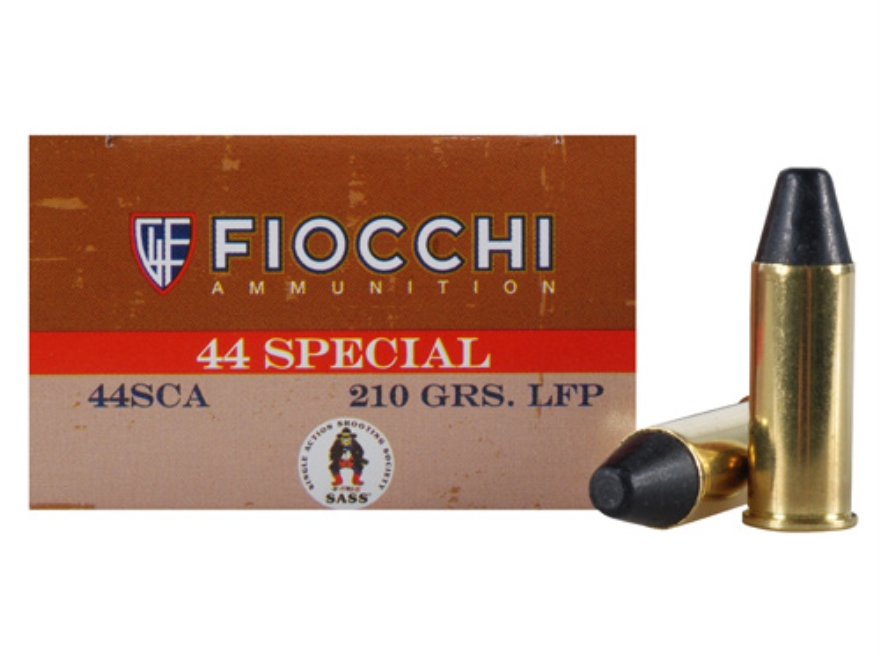 Fiocchi Cowboy Action Ammunition 44 Special 210 Grain Lead Round Nose Flat Point Box of 50