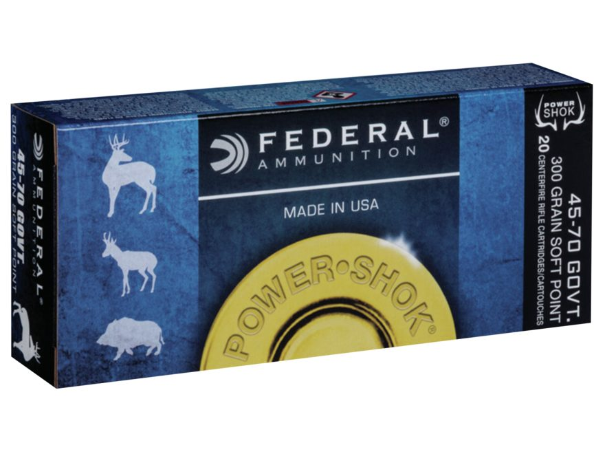 Federal Power-Shok Ammunition 45-70 Government 300 Grain Speer Hot-Cor Hollow Point Box...