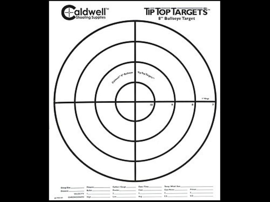 """Caldwell Tip Top Target 8"""" Bullseye Package of 100"""