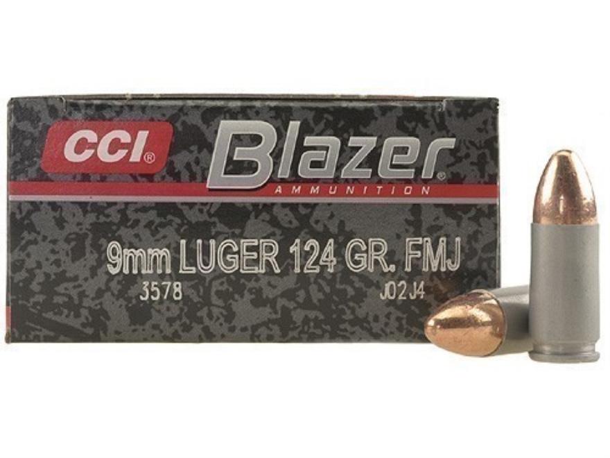 CCI Blazer Ammunition 9mm Luger 124 Grain Full Metal Jacket Box of 50