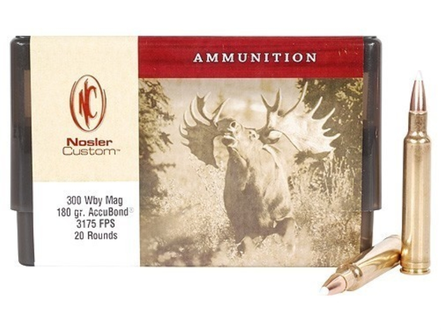 Nosler Custom Ammunition 300 Weatherby Magnum 180 Grain AccuBond Spitzer Box of 20