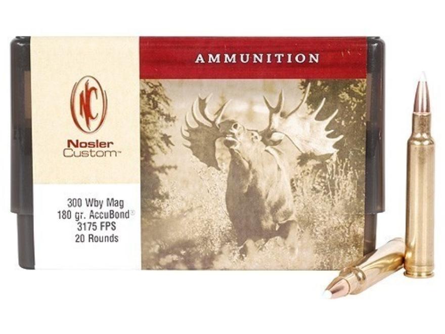 Nosler Custom Ammunition 300 Weatherby Magnum 180 Grain AccuBond Spitzer Box of 20