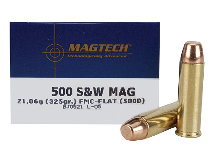 Magtech Sport Ammunition 500 S&W Magnum 325 Grain Full Metal Jacket Flat Point Box of 20