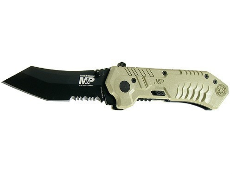 "Smith & Wesson M&P Folding Tactical Knife 2-7/8"" Serrated Tanto 4034 Black Stainless Steel Blade Aluminum Handle Desert Tan"